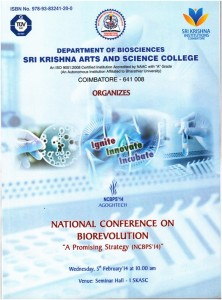 "Book Cover: National Conference on Biorevolution ""A Promising Strategy (NCBPS' 14)"""